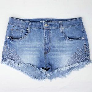 Mossimo High Rise Denim Jean Shorts Embroidered 16